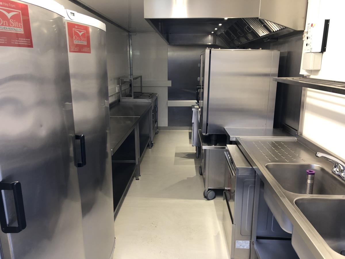 Our enclosed trailer kitchens can be equipped with everything required for significant hot and cold food production.